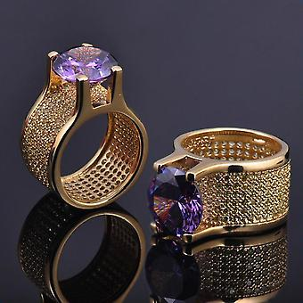Iced Out Bling Micro Pave Ring - LA gold / purple