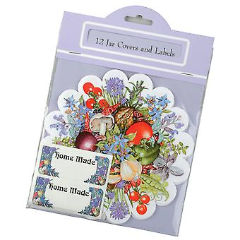 Traditional Vegetable & Herb Design Home Made Jar Cover and Label Set