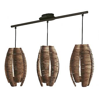 Eglo Mongu 3 Light Modern Pendant Ceiling Light Brown Finish