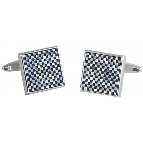 David Van Hagen Mother of Pearl and Onyx Square Chequered Cufflinks - Silver/Black/White
