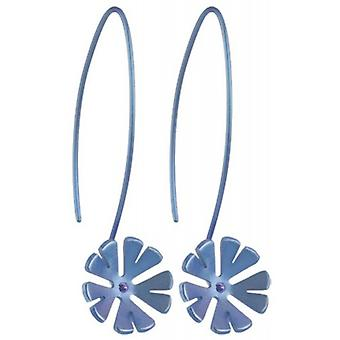 Ti2 Titanium 13mm Ten Petal Flower Drop Earrings - Aqua Blue