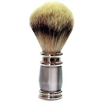 Shaving brushes obtain with silver tip Badger, grey synthetic resin handle