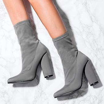 Spylovebuy SCIRICA Sock Fitted Pointed Toe Cylinder Heel Ankle Boots Shoes - Grey Stretch