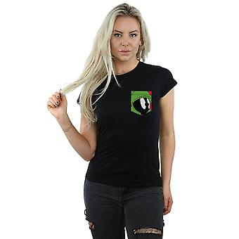 Looney Tunes Women's Marvin The Martian Face Faux Pocket T-Shirt