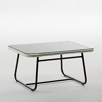 Wellindal Aluminum and Synthetic White and Crystal Center Table