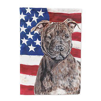 Staffordshire Bullterrier Staffie mit amerikanische Flagge USA Flagge Leinwandgröße Haus