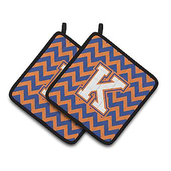 Letter K Chevron Blue and Orange #3 Pair of Pot Holders
