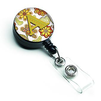 Letter A Floral Mustard and Green Retractable Badge Reel
