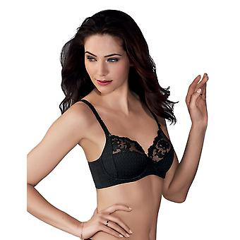 Anita Rosa Faia 5667-001 Women's Charlize Black Floral Lace Microfiber Non-Padded Underwired Plus Size DD+ Support Full Cup Bra