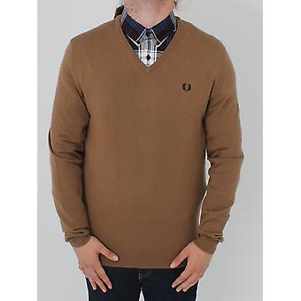 Fred Perry Classic Tipped V-Neck Knit - DK Caramel
