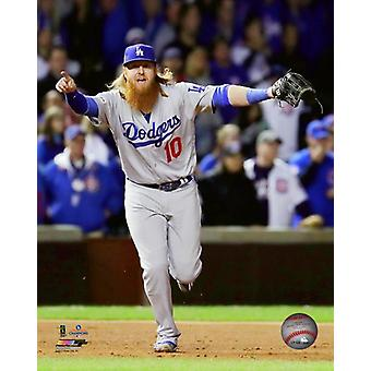 Justin Turner celebrates winning Game 5 of the 2017 National League Championship Series Photo Print