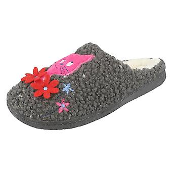 Ladies Jyoti Cat and Floral Design Slippers Candice W17-654 - Grey Textile - UK Size 7 - EU Size 39.5 - US Size 9