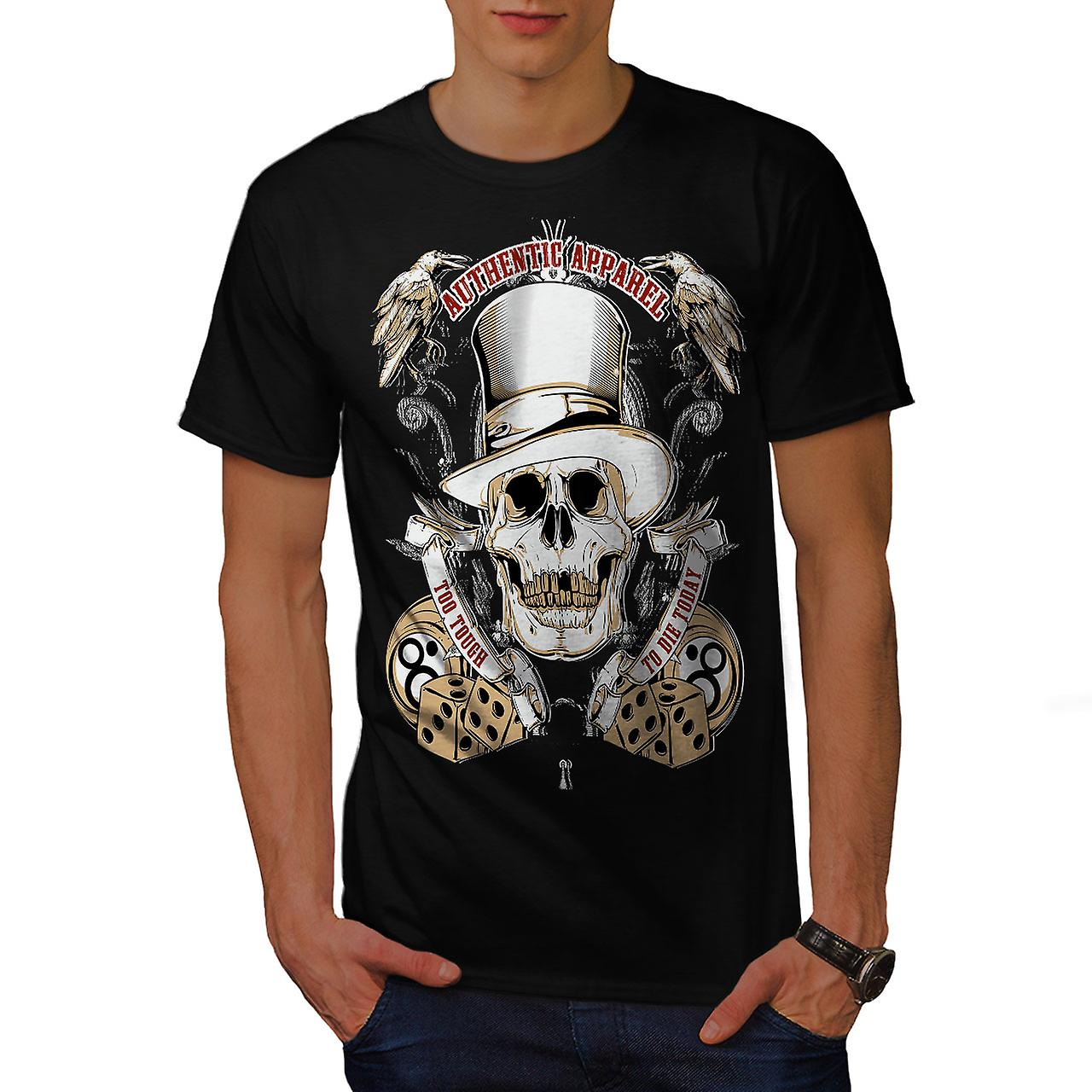 Too Tough To Die Skull Men Black T-shirt | Wellcoda