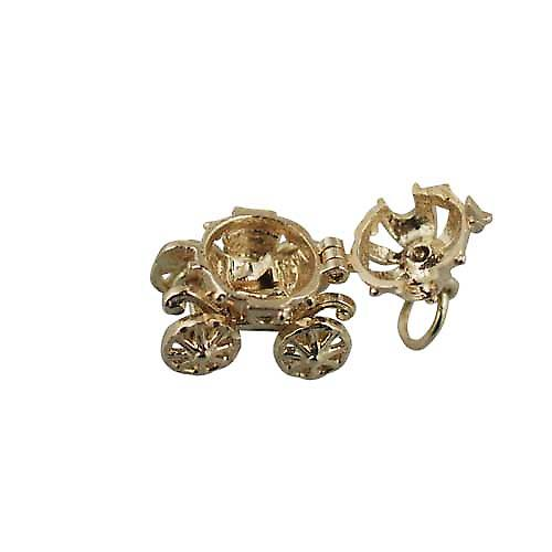 9ct Gold 15x16mm moveable Cinderella coach Charm