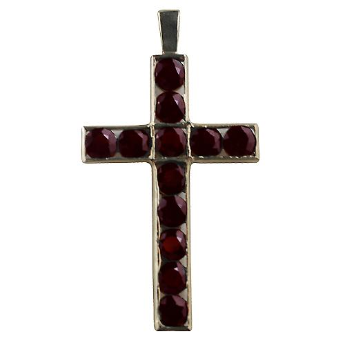 9ct Gold 45x29mm Apostle's Cross set with 12 Garnets