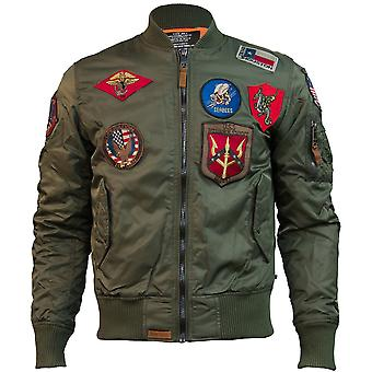 Top Gun MA 1 Nylon Bomber Jacket with Patches Olive