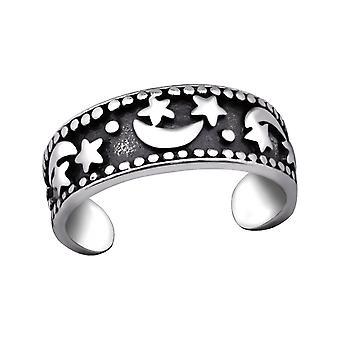 Luna y estrella - 925 anillos de plata del dedo del pie - W29408X