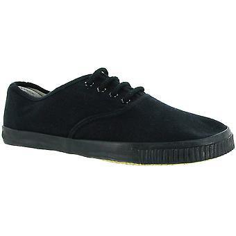 Mirak Ladies 6061 Lace Up Textile Plimsoll Sneaker Trainer Black