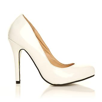 HILLARY White Patent PU Leather Stilleto High Heel Classic Court Shoes