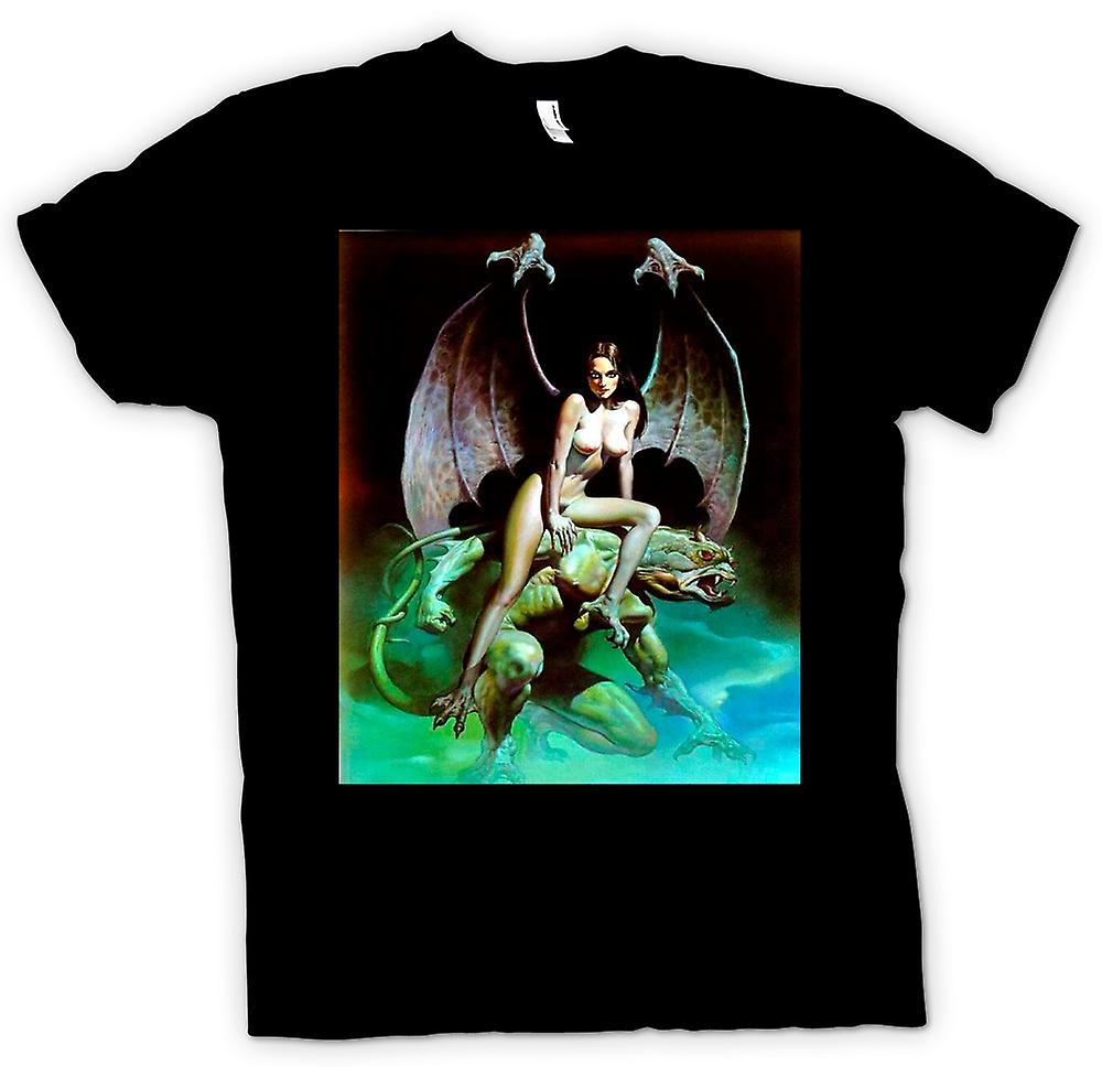 Mens t-shirt - Fantasy Devil Dragon - Angelo nudo