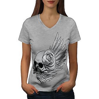 Death Rose Wing Skull Women GreyV-Neck T-shirt   Wellcoda
