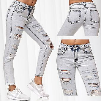 Ladie's Boyfriend Style Pants Destroyed Ripped Hip Jeans Hole Used Trousers
