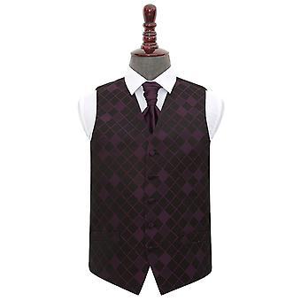 Cadbury Purple Diamond Wedding kamizelka idealna Cravat zestaw