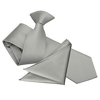 Silver Solid Check Clip On Slim Tie & Pocket Square Set