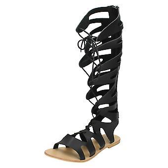 Las señoras punto de encaje hasta sandalias de Gladiador F0938