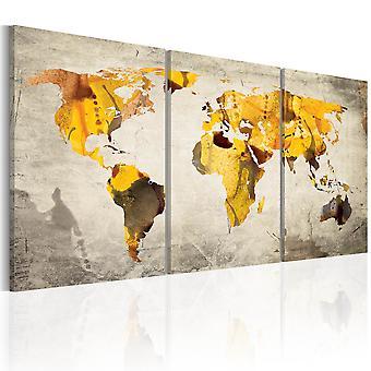 Lærred Udskriv - gul kontinenter
