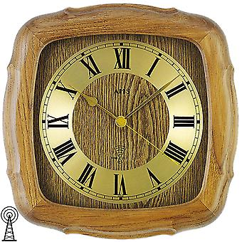 Radio controlled wall clock clock radio clock rustic square solid wood mineral glass AMS 27 x 27 cm