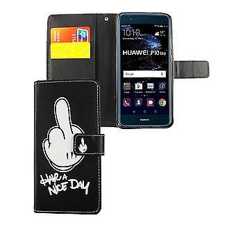Handyhülle Tasche für Handy Huawei P10 Lite Have A Nice Day Schwarz