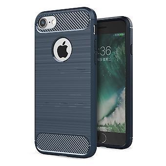 Apple iPhone 8 plus cover TPU case silicone cover mobiele bumper carbonlook blauw