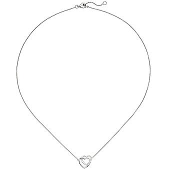 Collier heart 925 necklace sterling silver 21 cubic zirconia necklace 45 cm silver chain