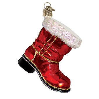 Old World Christmas Santas Red Boot Holiday Ornament Glass