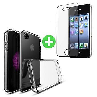 Stuff Certified ® iPhone 4 Transparent TPU Case + Screen Protector Tempered Glass