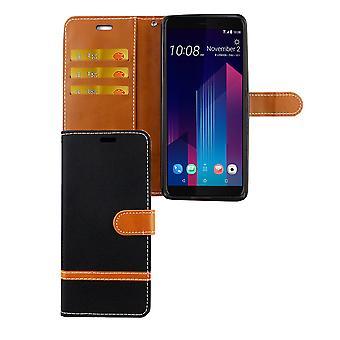 HTC U12 + téléphone portable affaire sac protecteur Housse Etui carte housse noir plus