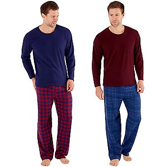 Harvey James Mens Warm Winter Thermal Fleece Check Loungewear Pyjamas PJs Set