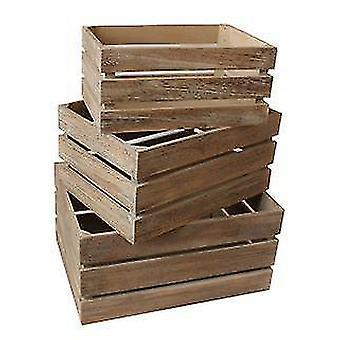 Caisse de rangement en bois latté chêne effet Set 3