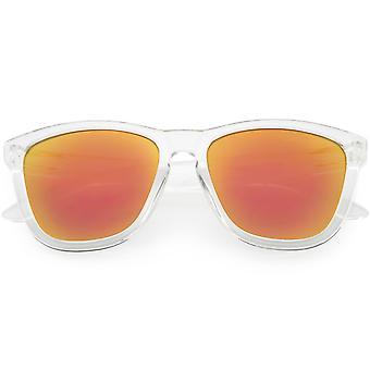 Unisex Horn kantad fyrkantiga solglasögon färgade spegel lins 53mm
