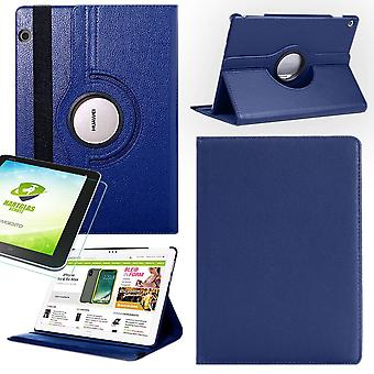 For Apple iPad Pro 12.9 2018 3rd Gen 360 degree cover cover case dark blue leather case new art + 0.4 mm hard glass