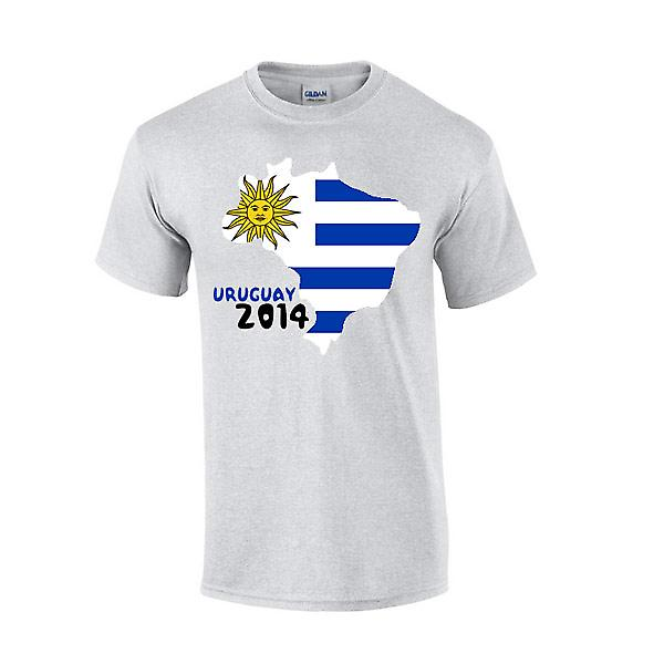 Uruguay 2014 T-shirt Country Flag (grigio)