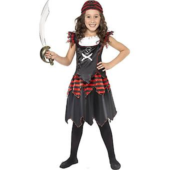 Pirate Skull and Crossbones Girl Costume, Small Age 4-6