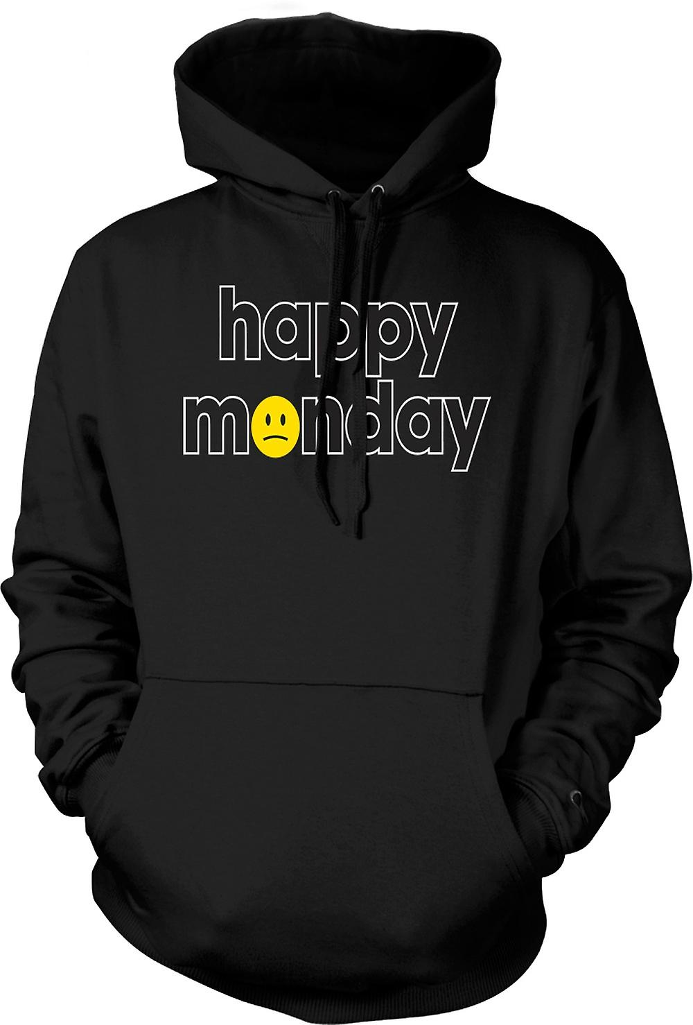 Mens Hoodie - Happy Monday - Smiley Face - Quote