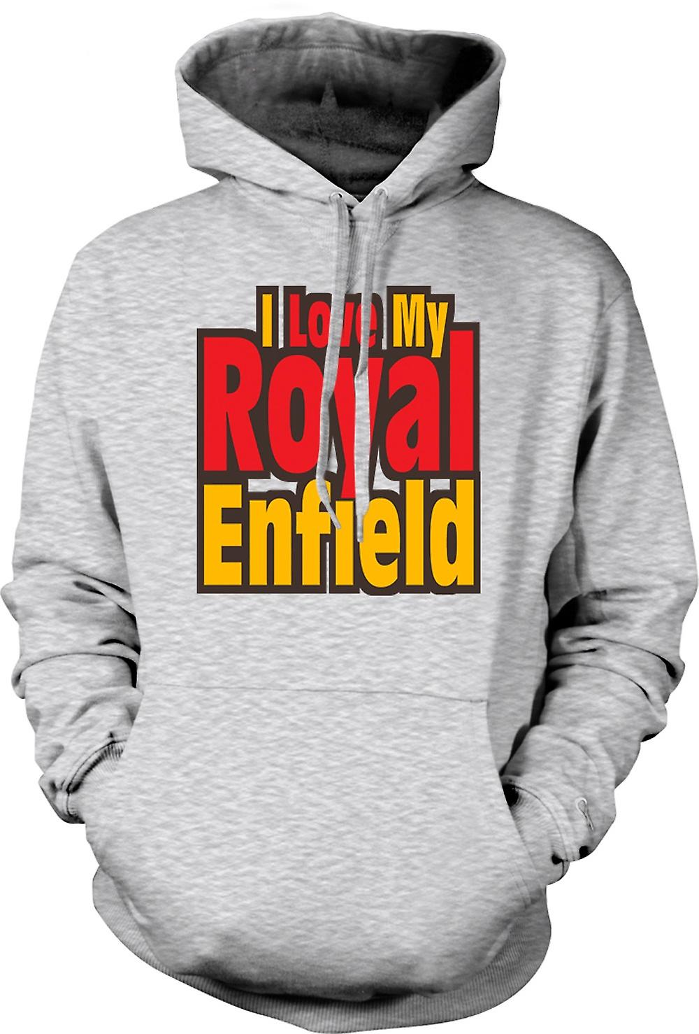 Mens Hoodie - I Love My Royal Enfield - Motorcycle - Biker