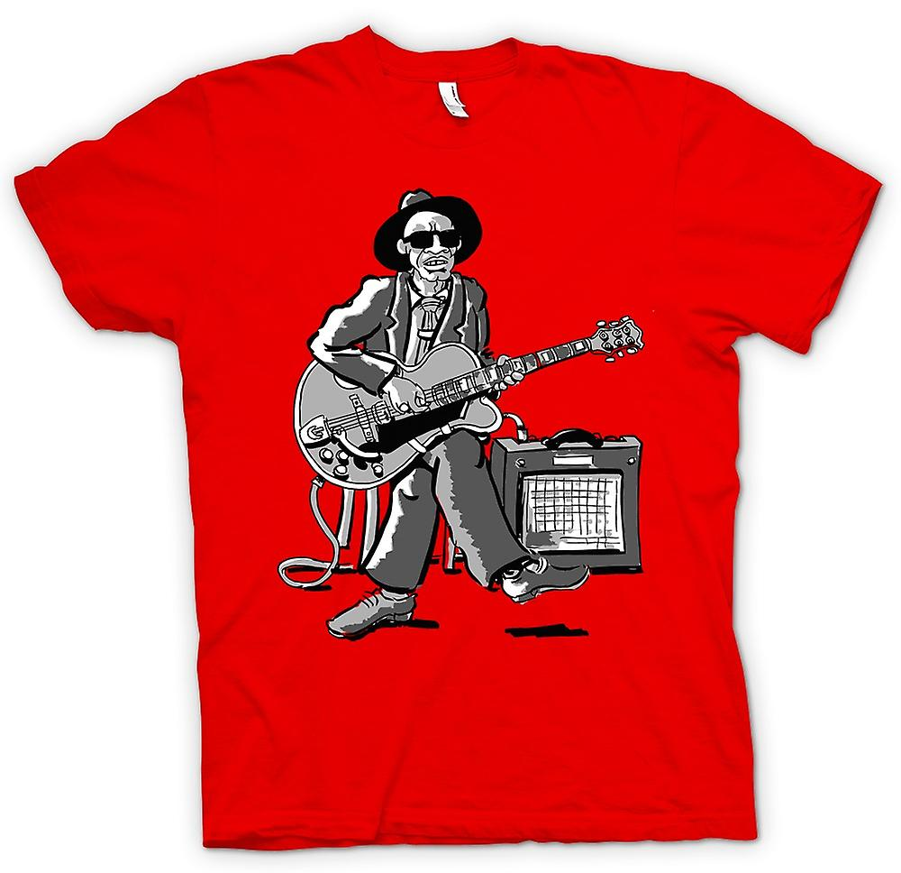 Mens T-shirt - Old Blues Guitarist Med Amp - Musik