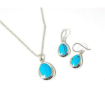 TOC Sterling Silver Turquoise-tone Tear Drop Oorbellen & hanger ketting Set