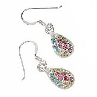 Sterling zilveren Multi Color Crystal Tear Drop Earrings door TOC