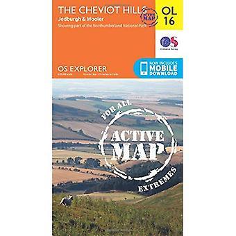 OS Explorer actieve OL16 de Cheviot Hills (OS Explorer kaart actief)
