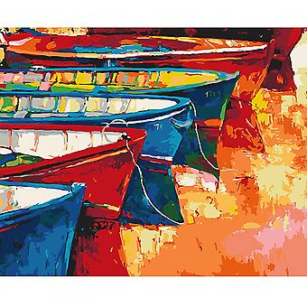 Artventura Boats At The Pier Stretched Canvas Extra Large Paint By Numbers